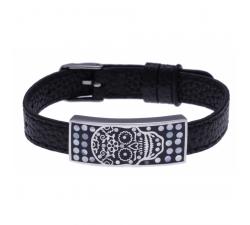 Bracelet acier - tête de mort - émail - nacre - cuir noir ODENA - IM 358