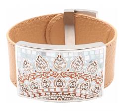 Bracelet acier - émail - nacre - feuilles orangées - cuir marron - ODENA - IM 362