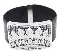 Bracelet acier - émail - nacre - feuilles noires & blanches - cuir noir - ODENA - IM 366