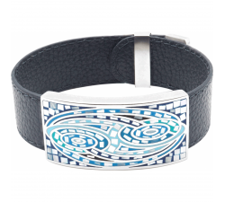 Bracelet acier - émail - nacre - cuir noir ODENA - IM 368