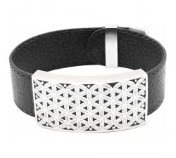 Bracelet acier - émail - nacre - fleur de vie - cuir noir ODENA - IM 372