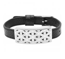 Bracelet acier - fleur de vie - émail - nacre - cuir noir ODENA - IM 373