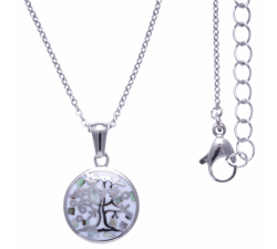 Collier en acier - arbre de vie - nacre - émail - petit volume - ODENA - IM 447