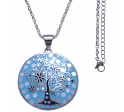 Collier en acier - arbre de vie - nacre - émail - ODENA - IM 448