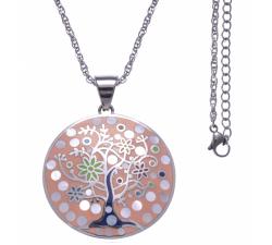 Collier en acier - arbre de vie - nacre - émail - ODENA - IM 454