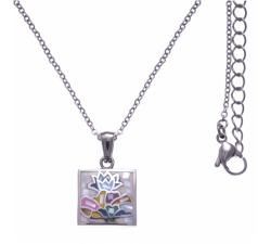 Collier en acier - nacre - émail - petit volume - ODENA - IM 457