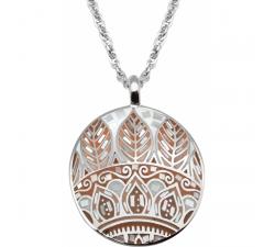 Collier en acier - feuilles orangées - nacre - émail - ODENA - IM 462