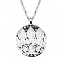 Collier en acier - feuilles noires & blanches - nacre - émail - ODENA - IM 466