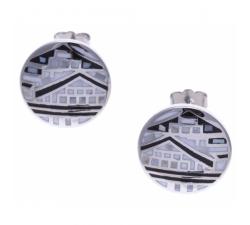 Boucles d'oreilles acier - maison noire & blanche - nacre - émail - ODENA - IM 544