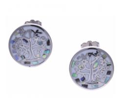 Boucles d'oreilles acier - arbre de vie - nacre - émail - ODENA - IM 546