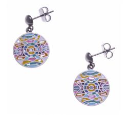 Boucles d'oreilles pendantes acier - nacre - émail - ODENA - IM 552