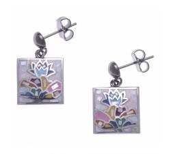 Boucles d'oreilles pendantes acier - nacre - émail - ODENA - IM 556