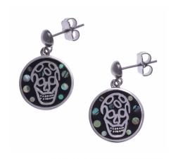 Boucles d'oreilles pendantes acier - tête de mort - nacre - émail - ODENA - IM 558