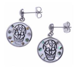 Boucles d'oreilles pendantes acier - tête de mort - nacre - émail - ODENA - IM 560