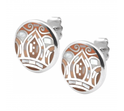 Boucles d'oreilles acier - feuilles orangées - nacre - émail - ODENA - IM 562