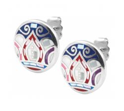 Boucles d'oreilles acier - feuilles bleues - rose - nacre - émail - ODENA - IM 564