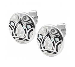 Boucles d'oreilles acier - feuilles noires & blanches - nacre - émail - ODENA - IM 566