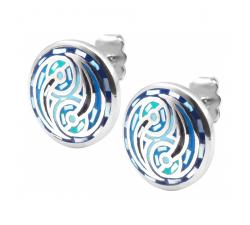 Boucles d'oreilles acier - nacre - émail - ODENA - IM 568