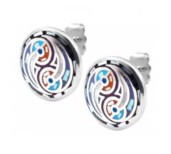 Boucles d'oreilles acier - nacre - émail - ODENA - IM 570
