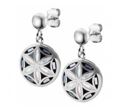 Boucles d'oreilles pendantes acier - fleurs de vie - nacre - émail - ODENA - IM 572