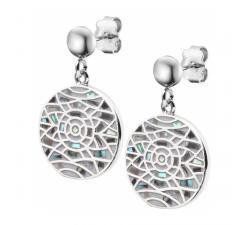 Boucles d'oreilles pendantes acier - nacre - émail - ODENA - IM 575