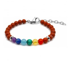 Bracelet STILIVITA 7 CHAKRAS - jaspe rouge, cornaline, citrine, malachite, aigue marine, lapis lazuli, améthyste SI 310