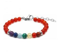 Bracelet STILIVITA 7 CHAKRAS - jaspe rouge, cornaline, citrine, malachite, aigue marine, lapis lazuli, améthyste SI 311