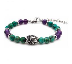 Bracelet STILIVITA en acier - Collection équilibre - ANTI STRESS - turquoise - améthyste - bouddha et séparateur en acier SI 328