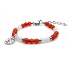 Bracelet STILIVITA en acier - Collection équilibre - SUPER WOMAN - pierre de lune - cornaline - chakra sacré SI 329