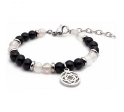 Bracelet STILIVITA en acier - Collection équilibre - COURAGE & FORCE - Quartz rose - tourmaline noire - chakra racine SI 331