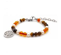 Bracelet STILIVITA en acier - Collection équilibre - PROTECTION - perle - œil de tigre - ambre - arbre de vie SI 332