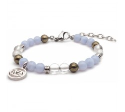 Bracelet STILIVITA en acier - Collection équilibre - CLARTE D'ESPRIT - calcédoine - cristal de roche - pyrite SI 335