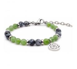 Bracelet STILIVITA en acier - Collection équilibre - ANCRAGE ET PROSPERITE - obsidienne neige - jade néphrite SI 336