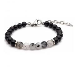Bracelet STILIVITA en acier - Collection équilibre - PROTECTION ET BIEN ETRE - tourmaline noire - quartz tourmaliné SI 337