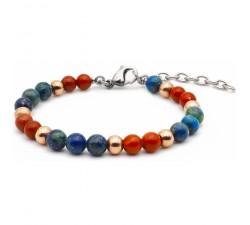 Bracelet STILIVITA en acier - Collection équilibre - INTUITION & ELEVATION - jaspe rouge - azurite - billes acier rosé SI 342