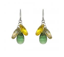 Boucles d'oreilles argent 925/1000 et Swarovski elements Indicolite DO-FLEUR-360
