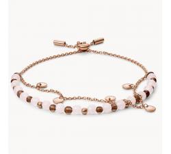 Bracelet femme double en perles en acier doré rose FOSSIL JF03148791