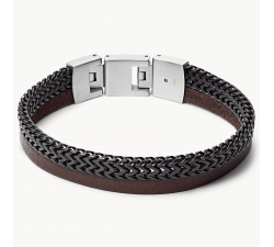 Bracelet homme duo en cuir et acier FOSSIL JF03180040