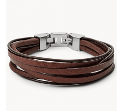 Bracelet homme multi rang cuir brun FOSSIL JF03184040