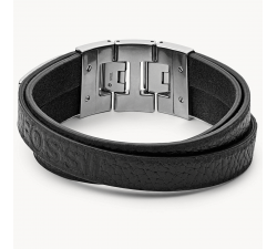 Bracelet homme cuir noir multi-rangs FOSSIL JF03189040