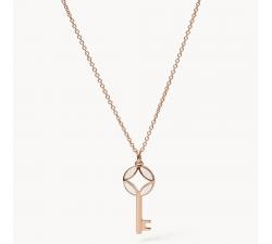 Collier femme clé en acier doré rose Fossil JF03195791