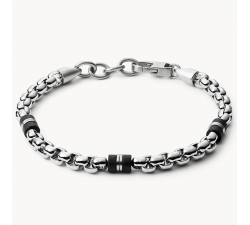 Bracelet homme orné de perles en marbre noir et acier Fossil JF03313040