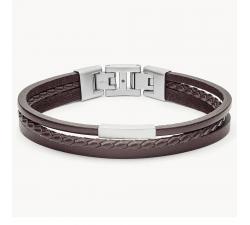 Bracelet homme multi-rangs cuir brun et acier FOSSIL JF03323040