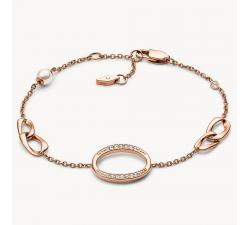 Bracelet femme à pampilles en acier doré rose FOSSIL JF03347791