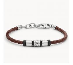 Bracelet homme en cuir brun et acier FOSSIL JF03386040
