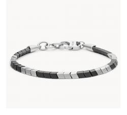 Bracelet homme chaîne en acier et hématite FOSSIL JF03387040