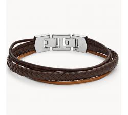 Bracelet homme multi-rangs cuir brun et acier FOSSIL JF03390040