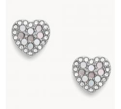 Boucles d'oreilles coeur mosaïque en acier Fossil JF03413040