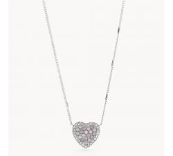 Collier femme coeur mosaïque en acier Fossil JF03415040