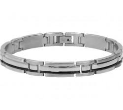Bracelet acier TRINIDAD 8,5mm Bicolore PVD noir ROCHET B042361
